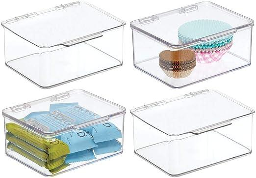 mDesign Juego de 4 Cajas de plástico con Tapa – Caja de almacenaje pequeña para Estante de Cocina y despensa – Organizador de Nevera apilable para té, café y Aperitivos – Transparente: Amazon.es: Hogar