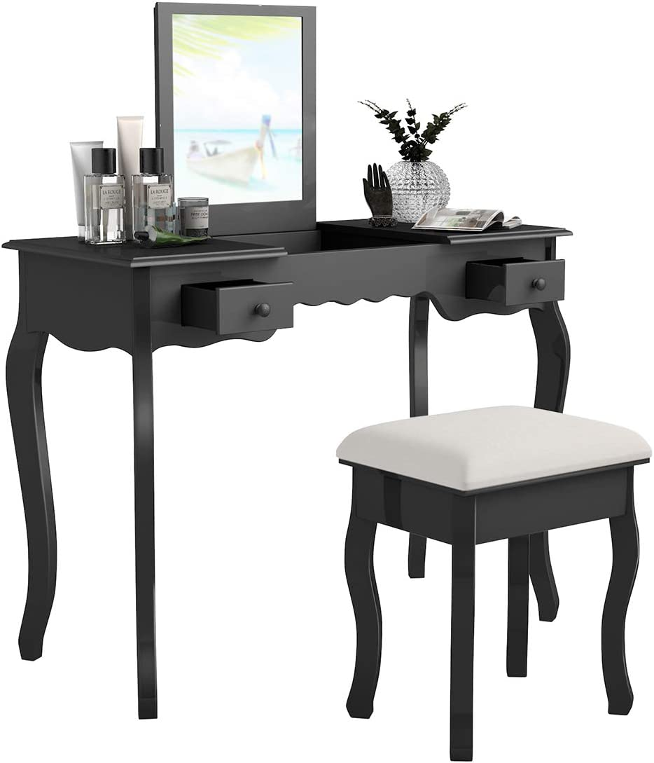 Giantex Vanity Set with Flip Top Mirror and Cushioned Stool, Makeup Dressing Table with Removable Jewelry Organizers and 2 Drawers, Modern Makeup Table Writing Desk for Girls Women Bedroom, Black