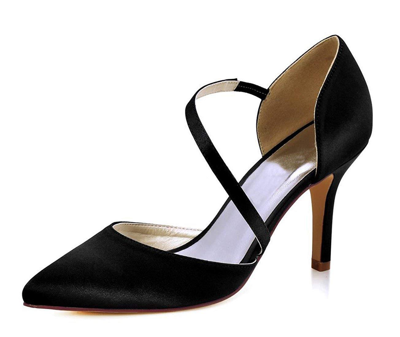 ZHRUI Damen-Spitzeknöchel-Verpackungs-Satin-Stilvolle Hochzeits-Geschäfts-Party-Schuhe (Farbe   schwarz-9cm Heel, Größe   6.5 UK)