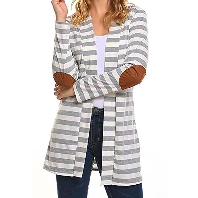 Chaqueta de Punto para Mujer Cardigan Mujeres Abrigo de Largo ronamic küberg roße GESTREIFTE Tejer Patchwork Outwear Abrigo Gris Gris Small: Amazon.es: ...