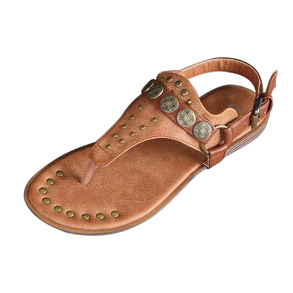 Fastbot Women's Summer Sandals Open Toe Casual Comfort Fashion Buckle Rivets Hollow Flip Flops Shoes Brown