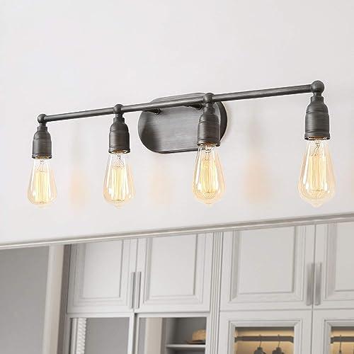 LNC Industrial Water Pipe Wall Lamp Black Bathroom Vanity Light Fixtures