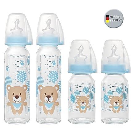 Nip Botella de cristal Uni//Juego De 4//Baby Botella de cristal