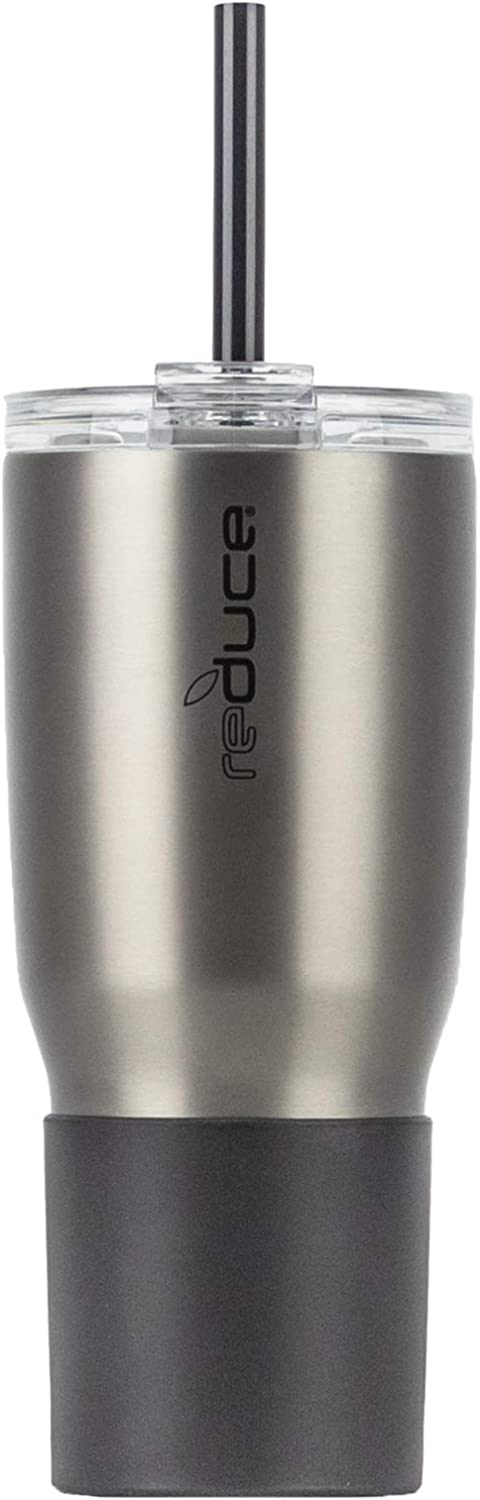 Reduce Tumbler, 24oz – Reduce Cold-1 Tumbler With Lid and Straw – 24 Hours Cold – Stainless Steel, Sweat-Proof Body – Cupholder Friendly, Perfect for Water and Coffee – Charcoal