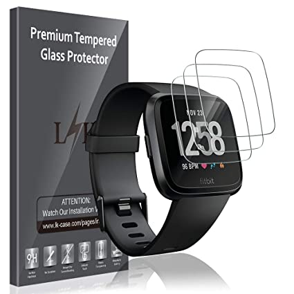LK [3 Pack] Screen Protector for Fitbit Versa/Versa Lite Edition, [Easy Installation][HD Clear] SmartWatch Tempered Glass with Lifetime Replacement ...