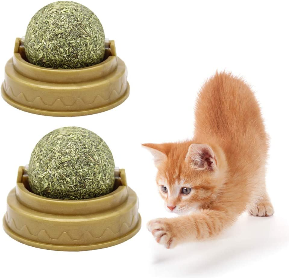 POPETPOP 4pcs Cat Mint Toys Cat Treats Balls Cat Licking Toy Wall Stick-on Ball Toy Healthy Energy Ball for Cats Kitten