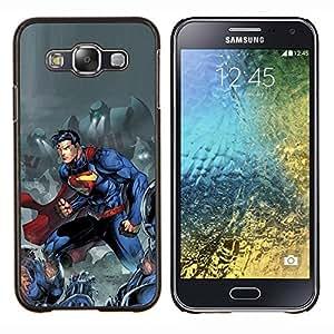 TECHCASE---Cubierta de la caja de protección para la piel dura ** Samsung Galaxy E5 E500 ** --Hombre Azul carácter cómico