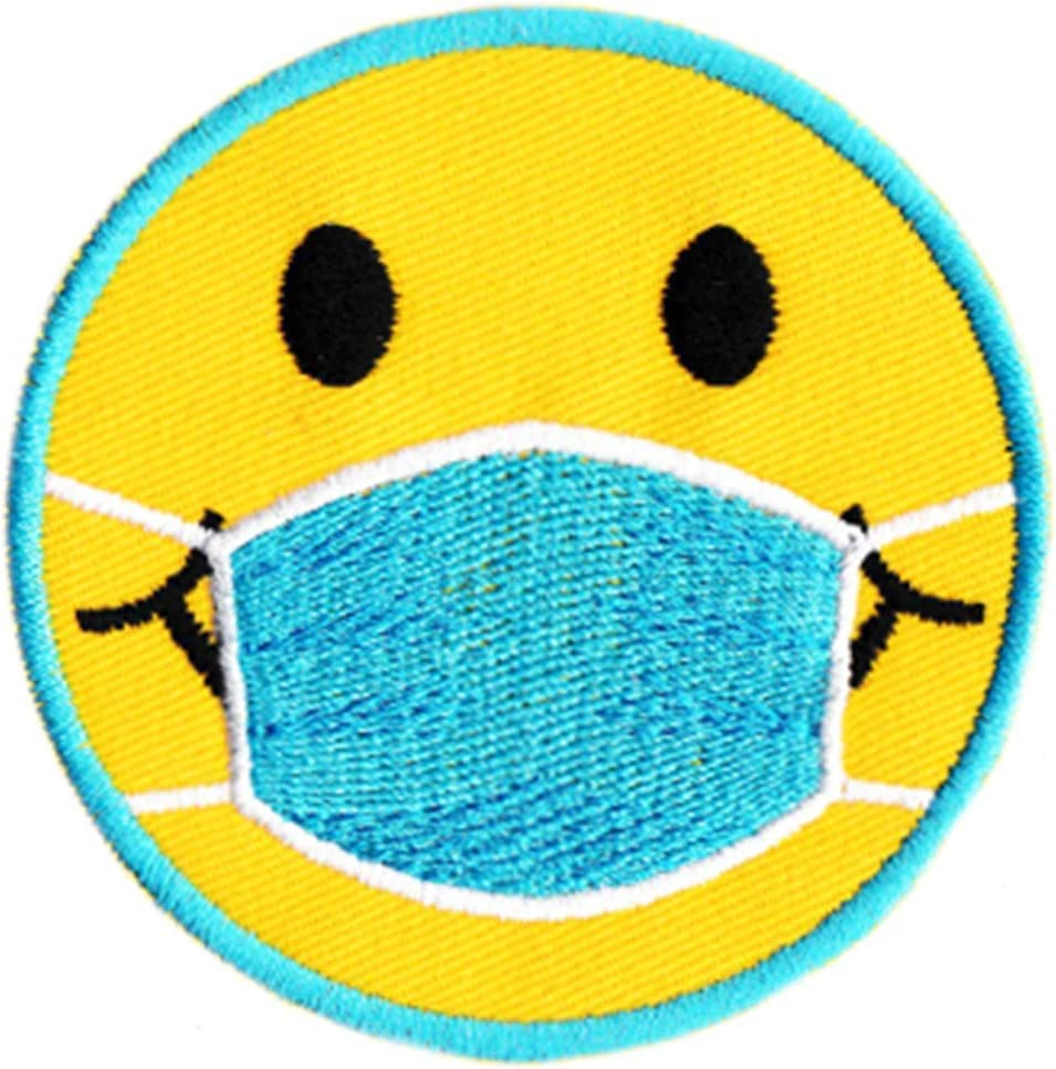 Cute Coronavirus Covid-19 Smiley Face Doctor Nurse Patient Shirt Morale Patch 7.5cm // 3 inch Patches Car Movie 70s Badge