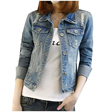 a0ee8212ae0 Zimaes-Women Baggy Casual Washed Crop Destroyed Plus-Size Denim Jackets  Blue S