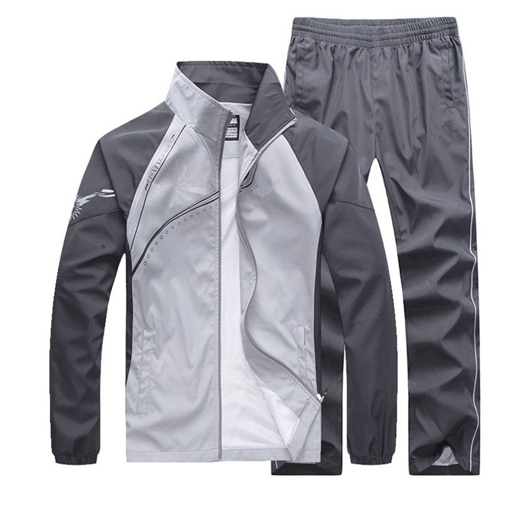 November's Chopin Men's Fitted Exercise Tracksuit Set 2 Pieces Full-Zip Casual Jogging Athletic Workout Sweat Suits by November's Chopin
