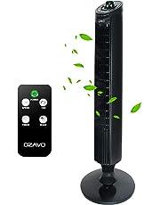 OZAVO Ventilateur Colonne Silencieux   Ventilateur Tour avec Télécommande   Ventilateur sur Pied Oscillant 70°  45 W   3 Niveaux de Vitesse (LOW / MEDIUM / HIGH)   Minuterie