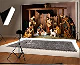 Laeacco 7x5FT Vinyl Backdrop Photography Background Christmas Manger Scene Figurines Jesus Mary Joseph Sheep and Magi Belief The Nativity Story Christ Child Scene Backdrop Photo Shooting Studio