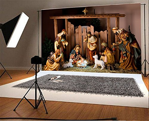 Laeacco 7x5FT Vinyl Backdrop Photography Background Christmas Manger Scene Figurines Jesus Mary Joseph Sheep and Magi Belief The Nativity Story Christ Child Scene Backdrop Photo Shooting Studio ()