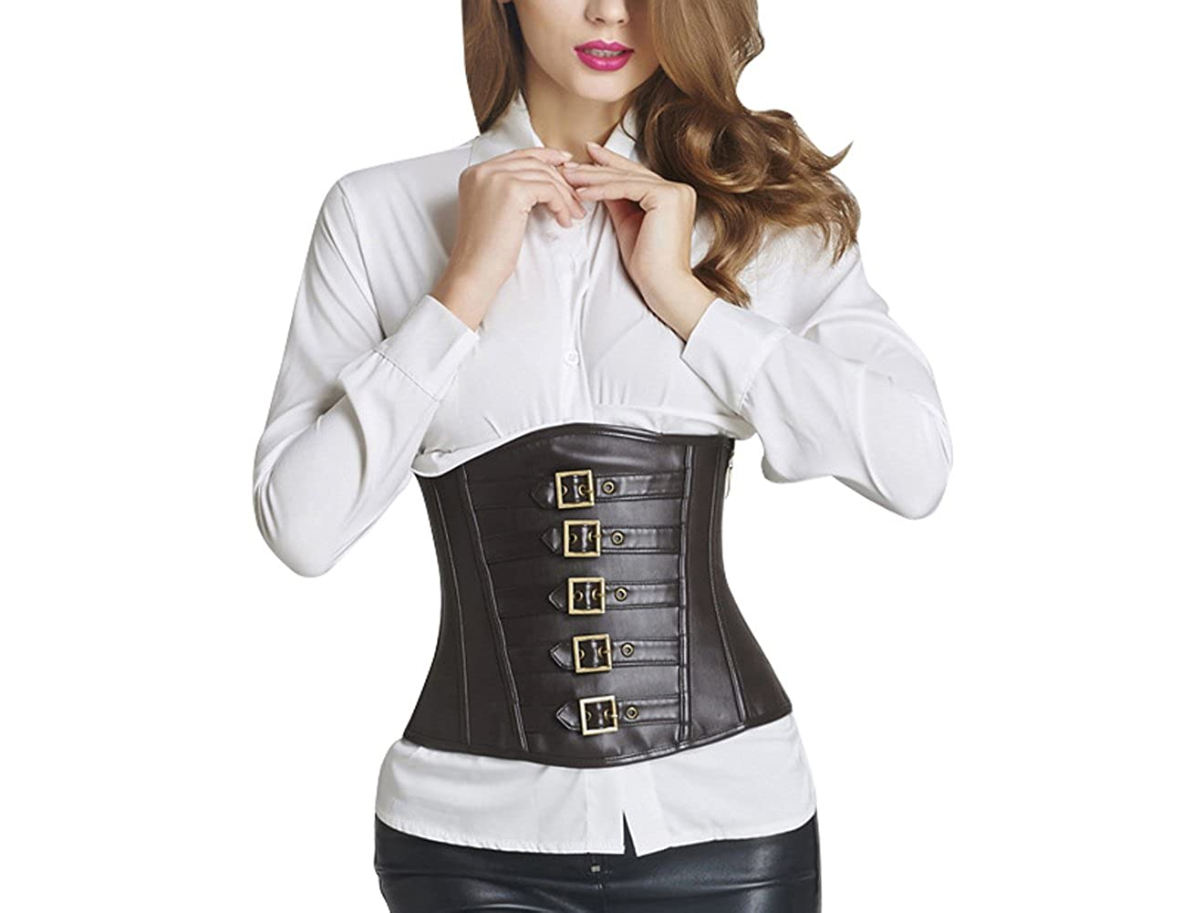 ZAMME Women's Synthetic Leather Lace Up Underbust Corsets And Bustiers Top CNPCR339