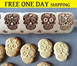 MEXICAN SKULLS engraved rolling pin and cookie cutter