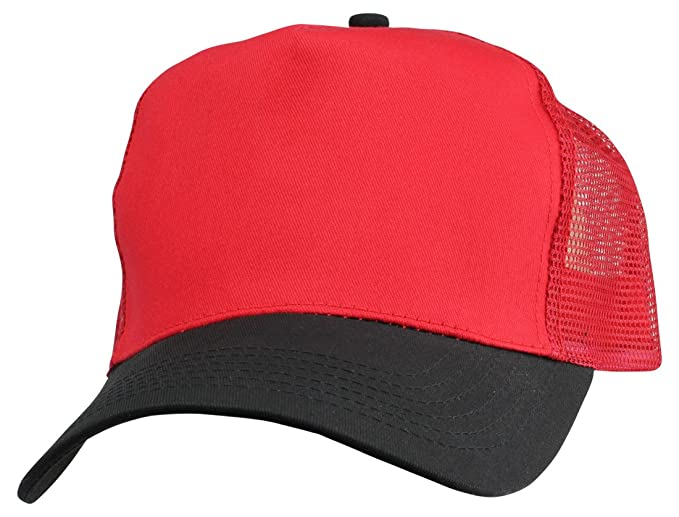 DALIX Plain Baseball Cap w Mesh Back Strong Cotton Twill Front in Red and  Black 8ae9730c0a4d