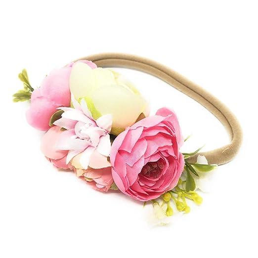 a475b2567ea Amazon.com  Tieback Flower Crown Elastic Flower Headband Baby Girl Toddler  Floral Crown Wreath Newborn Hair Accessories (A)  Clothing
