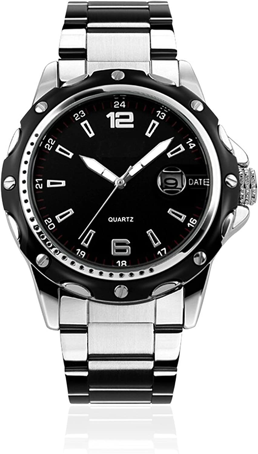 Mens Stainless Steel Band Analog Quartz Unique Business Casual Waterproof Dress Wrist Watch, Classic Design Calendar Date Window – Black