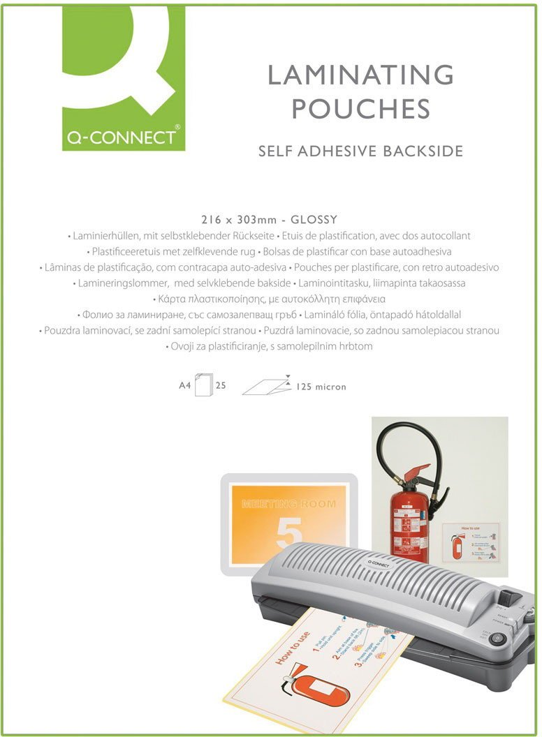 Q CONNECT A4 STICKY BACK LAM POUCH PK25