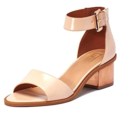 Truffle Nude Low Rose gold Block Heel Sandals womens peeptoe shoes size 7