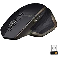 Logitech MX Master Wireless Mouse, Bluetooth or 2.4 GHz with USB Unifying Mini-Receiver, 1000 DPI Any Surface Laser…