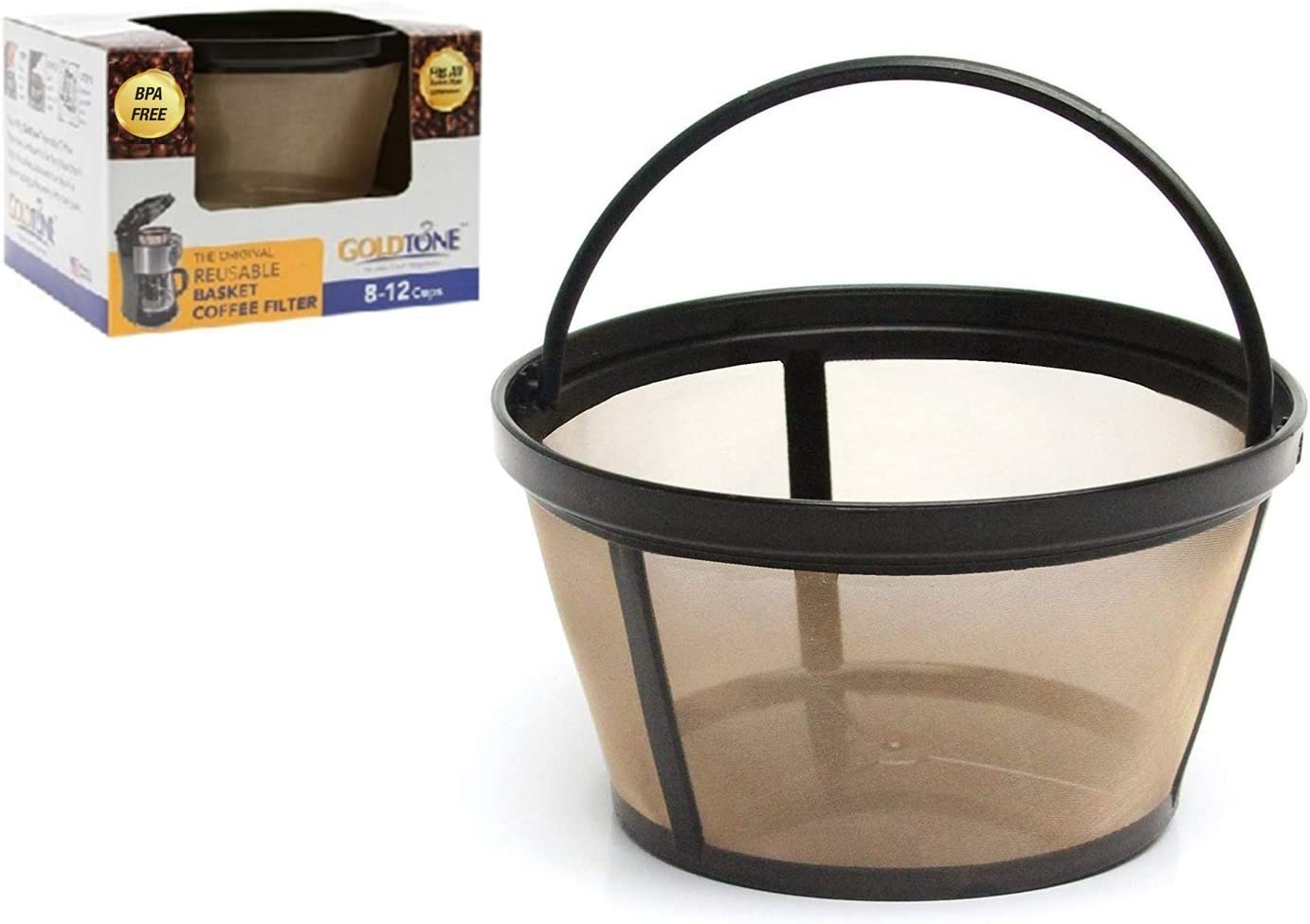 GOLDTONE Reusable 8-12 Cup Basket Coffee Filter fits Mr. Coffee Makers and Brewers, BPA Free. 61QPDb3RVhL
