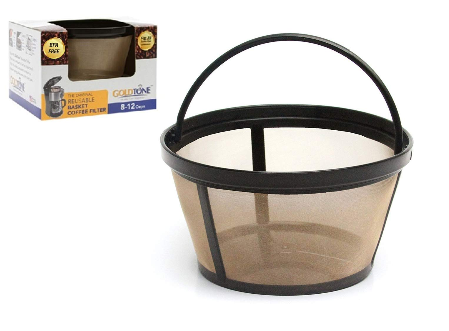 GOLDTONE Reusable 8-12 Cup Basket Coffee Filter fits Mr. Coffee Makers and Brewers, BPA Free by GoldTone (Image #1)