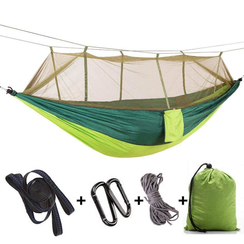 Vert foncé et clair  DCKJL Hamac 1-2 Personne 260  140cm Camping Hamac en Plein Air Moustique Bug Net portable Parachute Nylon Hamac pour Dormir Voyage Randonnée