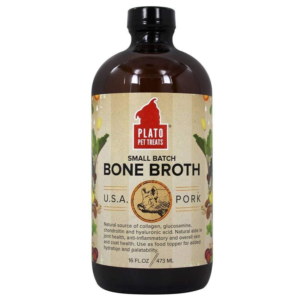 PLATO Small Batch Bone Broth for Dogs Pork 16 oz Bottle