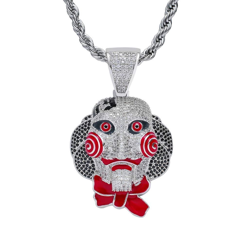 Hip Hop Halskette Anhänger Neue Kettensäge Cry Mask Puppe Puppe Puppe Anhänger Halloween Cosplay Schmuck Voll Zirkon Anhänger,Silber 1508b1