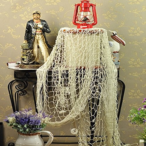Mediterranean style Wall Fish Net Decoration Photographing Party Beach home Decor(White)