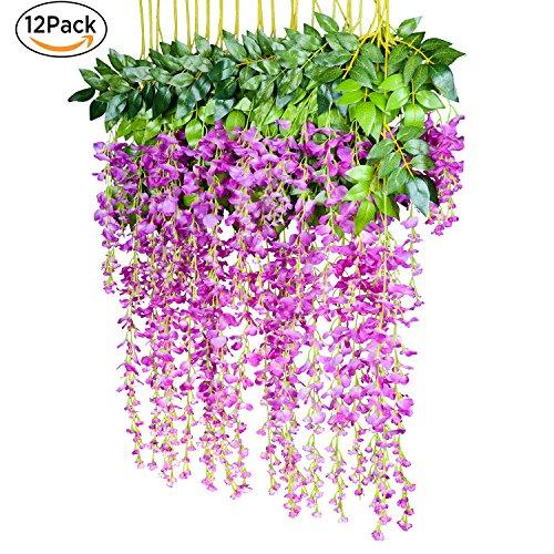 12 Pack 1 Piece 3.6 Feet Artificial Flowers Silk Wisteria Vine Ratta Hanging Flower for Wedding Garden Floral DIY Living Room Office Decor (Purple)