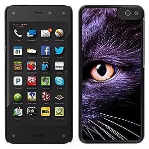EJOY---Cubierta de la caja de protección para la piel dura ** Amazon Fire Phone ** --Negro gatito Bombay Chartreux Cat Eye