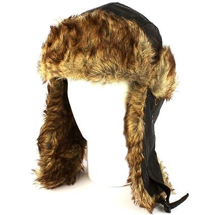 4bb077e1815 Image Unavailable. Image not available for. Color  Dakota Dan Trooper Faux  Leather Ear Flap Cap w Faux Fur Lining Hat (Black