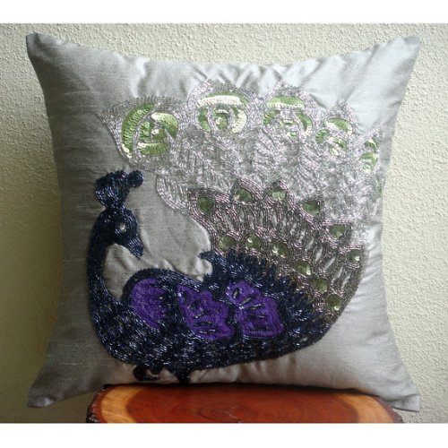 Luxury Silver Pillows Cover, Beaded Peacock Pillows Cover, 14?x14? Pillow Cover, Square Silk ...