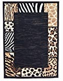 Rugs 4 Less Collection Animal Skin Prints Patchwork Leopard Border Area Rug R4L 73 (8'X10′) For Sale