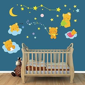 Decalmile Stickers Muraux Pour Chambre Bébé Ours Mignons