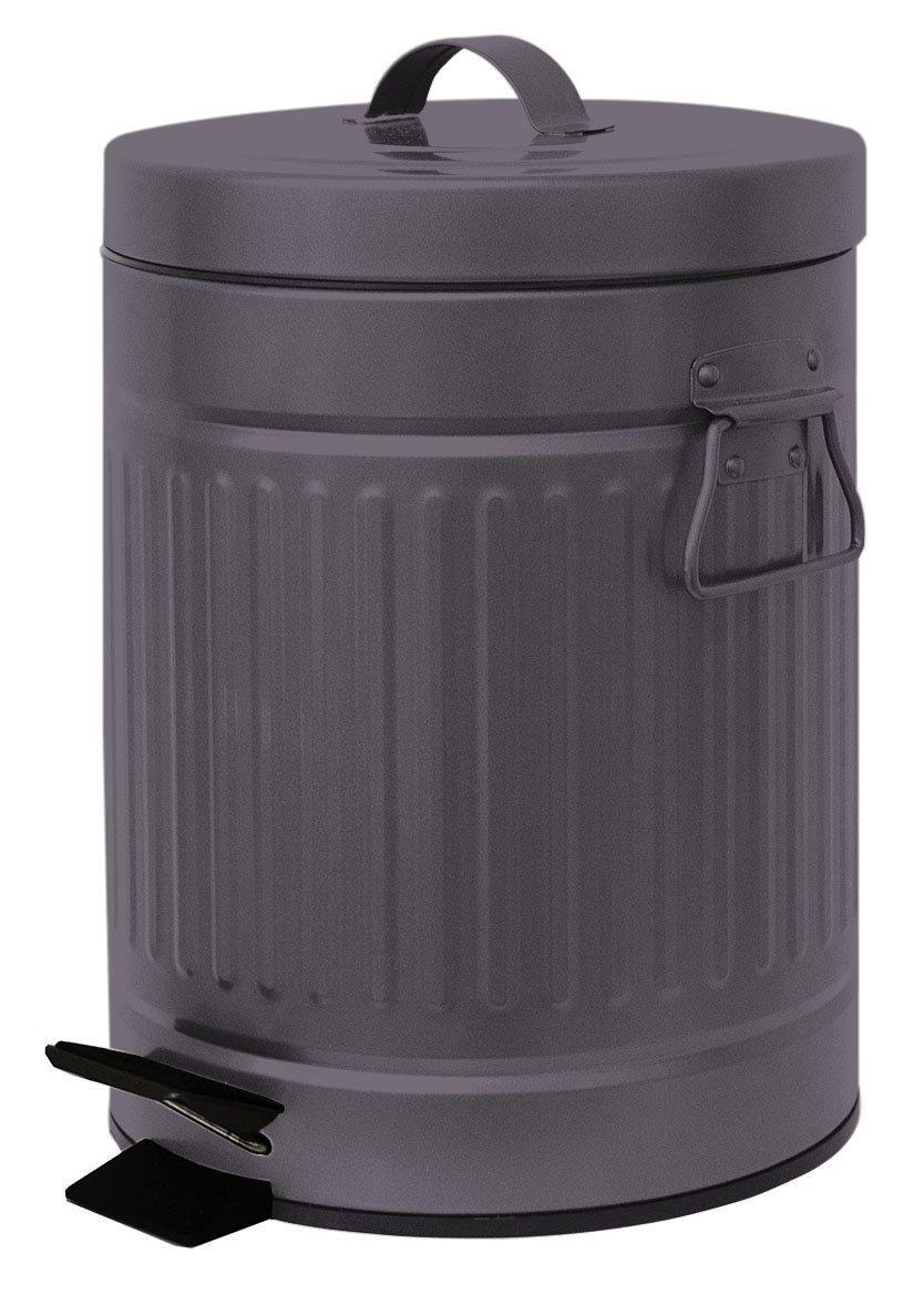 Elaine Karen Deluxe Galvanized Steel Step Foot Pedal Retro Garbage Trash Can - 5 Liter - Copper