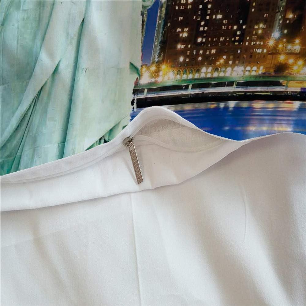 1.2MBed CHAOSE Housse De Couette Ensemble De Literie Super Doux Ville De Renomm/ée Mondiale Polyester-Coton 3 Pi/èces Londres,140x200cm 1 Housse De Couette + 2 Taies doreiller 48x74cm