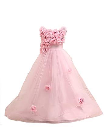 EnjoyBridal® Flower Girls Dress Short A-line Organza Rose Neckline Little Kids Princess Communion