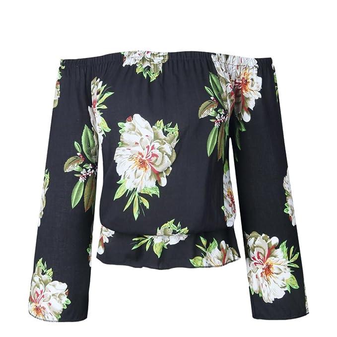 Amazon.com  UONQD Woman Fashion Women Summer Long Sleeve Off Shoulder Loose  T-Shirt Casual Blouse Shirt  Clothing 4a5b8cf642c2