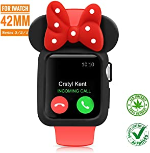 SEANADO 42mm Apple Watch Case, Unity Series Premium Protective Bumper Case Compatible iWatch Series 3, Series 2, Series 1 Newest Released(Black-Red)