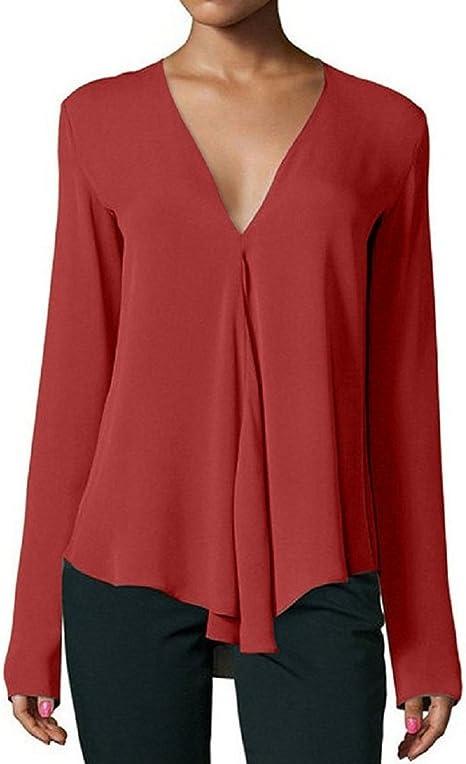 Blusas para Mujer Chiffon Hundiendo Manga Larga con Cuello en V Camisas Ocasionales Tops de Verano Tops T-Shirt (Color : Vino Rojo, tamaño : S): Amazon.es: Hogar