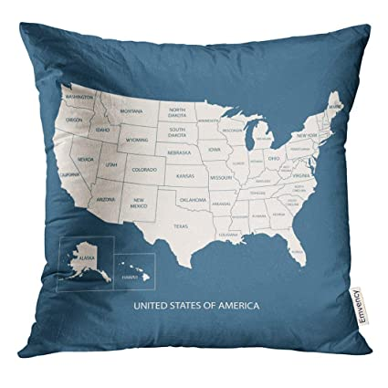 UPOOS Throw Pillow Cover Blue American USA Map with Name of Countries  United States America Us Flat Simple Texas Decorative Pillow Case Home  Decor ...