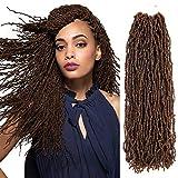 Micro Locs Crochet Braids 4packs Natural Faux Locs Crochet Braid 100% Premium Fiber Synthetic Hair African Roots Braid Collection Micro Locs Dreadlock Extension (4Packs 14inch, 1B/27#)