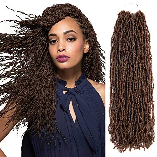 Micro Locs Crochet Braids 4packs Natural Faux Locs Crochet Braid 100% Premium Fiber Synthetic Hair African Roots Braid Collection Micro Locs Dreadlock Extension (4Packs 14inch, 1B/27#) ()