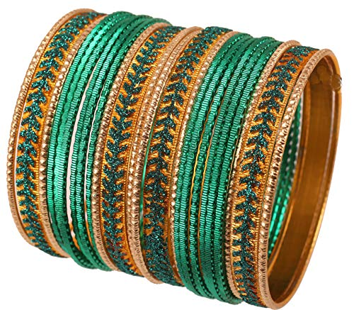(Touchstone New Metallic Colorful 2 Dozen Bangle Collection Indian Hollywood Textured Color Jewelry Special Large Size Bangle Bracelets Set of 24 in Antique Gold Tone for Women (Deep Green, 2.10))