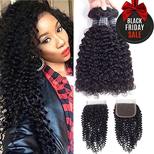 10A Brazilian Virgin Curly Hair Weave 3 Bundles with Lace Closure Free Part 4x4 100% Unprocessed Brazilian Kinky Curly Hair Weave Bundles Natural Color(16 18 20+14inch) by Amella hair