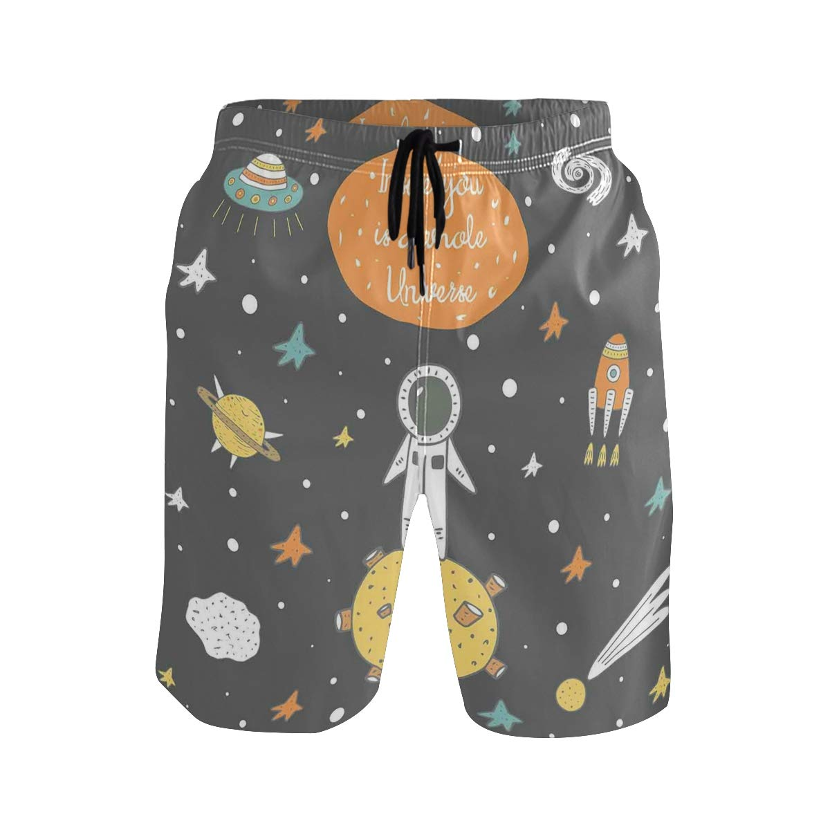 Doodle Pattern in Romantic Gray Brown and Red Colors On Black Background Casual Swim Trunks All
