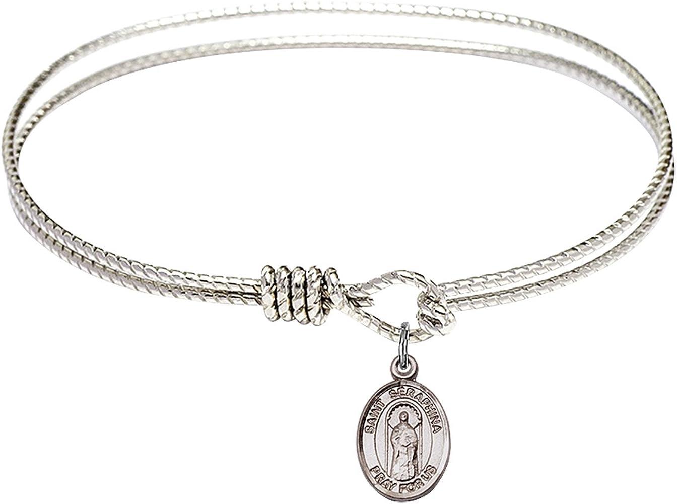 St Seraphina Charm On A Child Sized 5 3//4 Inch Oval Eye Hook Bangle Bracelet